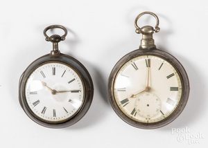 Two English key wind pocket watches