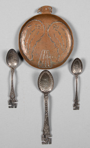 Three Native American Indian silver spoons