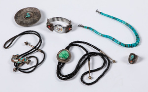 Six pieces of Native American Indian jewelry