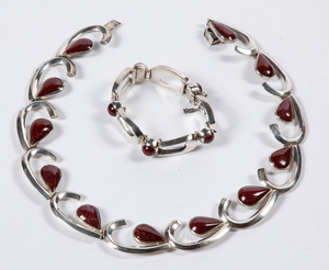 Mexican silver and hardstone necklace & bracelet