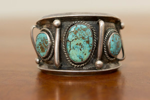 Three Navajo sterling silver & turquoise bracelet