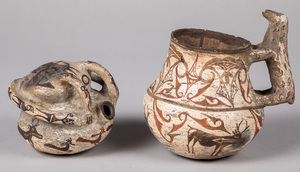 Two pieces of Zuni Indian polychromed pottery