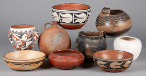 Native American Indian & tribal pottery vessels