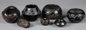 Native American Indian polished blackware pottery