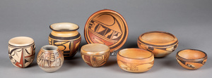 Eight Hopi Indian pottery vessels