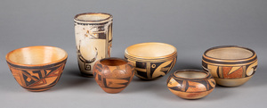 Six Native American Hopi pottery vessels