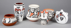 Six Acoma Indian pottery vessels