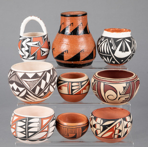Eight southwestern Indian pottery vessels