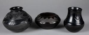 Three southwestern Indian blackware vessels