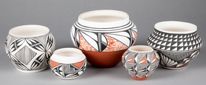 Five Acoma Indian pottery vessels
