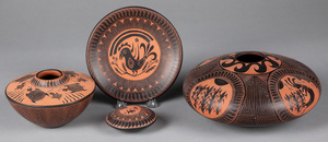 Four Acoma Indian pottery vessels