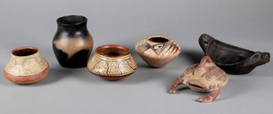 Five various pottery items