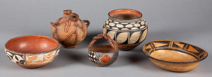 Five pieces of Pueblo Indian pottery, to include