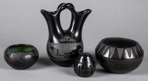 Four Santa Clara Pueblo Indian polished blackware