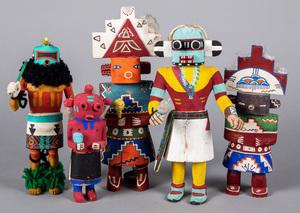 Five vintage carved and painted Hopi Kachina figu