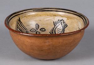 Tesuque Pueblo Indian pottery vessel, with sylize
