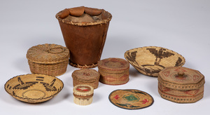 Nine Native American Indian baskets, to include t