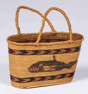 Makah Indian handled basket, with polychromed wha