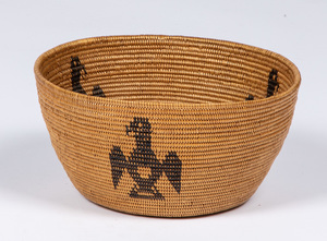 Native American Indian basket, with three eagles,
