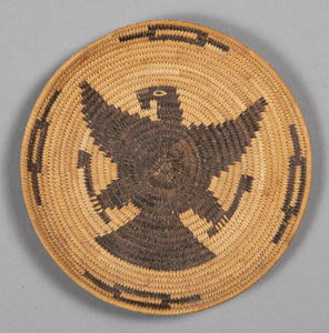 Pima Indian basketry tray, with eagle decoration,