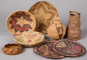 Group of Native American Indian basketry, togethe