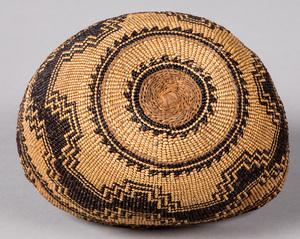California Yurok Indian basketry cap, 4