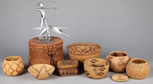 Eight tribal baskets, tallest - 8