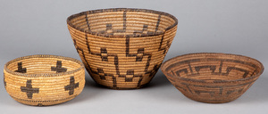 Three southwestern Indian coiled baskets, to incl