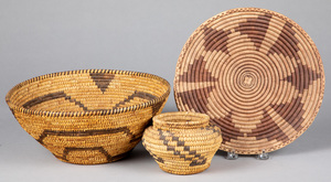 Three Papago Indian coiled baskets, to include an