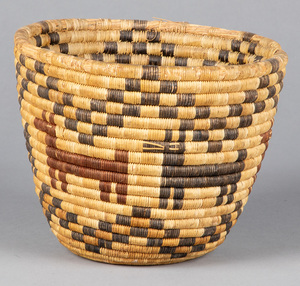 Hopi Indian coiled basket, with polychrome decora