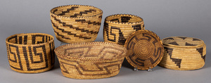 Six vintage Papago coiled baskets, to include an