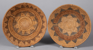 Two Navajo Indian wedding baskets, 12 1/2