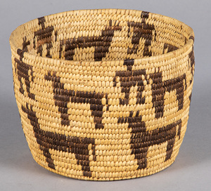 Vintage Papago coiled basket, with human figure a