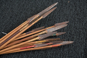 Sheaf of twenty Plains Indian arrows, with iron t