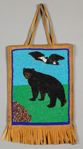 Plateau Indian beaded flat bag, with a flying eag