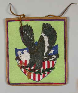 Plateau Indian beaded flat bag, with eagle over A