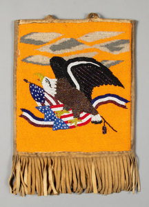 Plateau Indian beaded flat bag, with eagle over c
