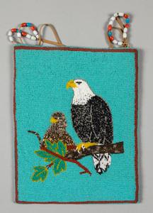 Plateau Indian beaded flat bag, with eagle and yo