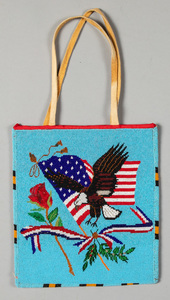 Plateau Indian fully beaded flat bag, with eagle,