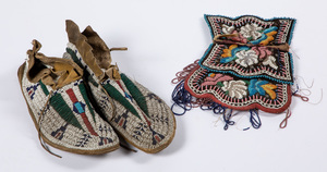 Pair of Plains Indian beaded moccasins, together