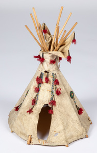 Miniature beaded hide teepee, with tin danglers,