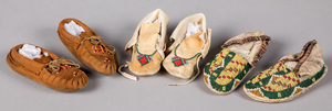 Three pairs of Native American Indian moccasins,