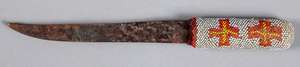 Plains Indian knife, with beaded handle, 9 1/2