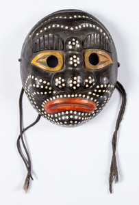 Carved and painted tribal mask, 10