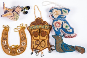 Five Iroquois Indian beadwork whimsies, to includ