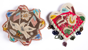 Four Iroquois Indian beaded whimseys, one with ea
