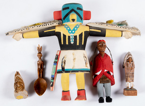 Five Native American Indian related carvings, to