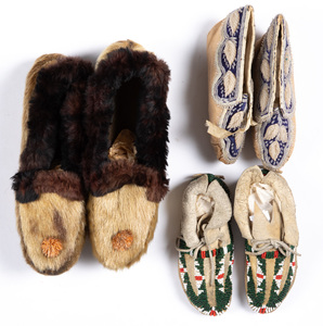 Three pairs of Native American Indian moccasins