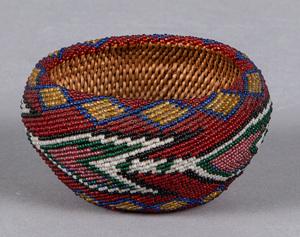 Piute beaded basket, ca. 1930