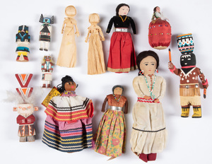 Group of Kachina and Native American Indian dolls